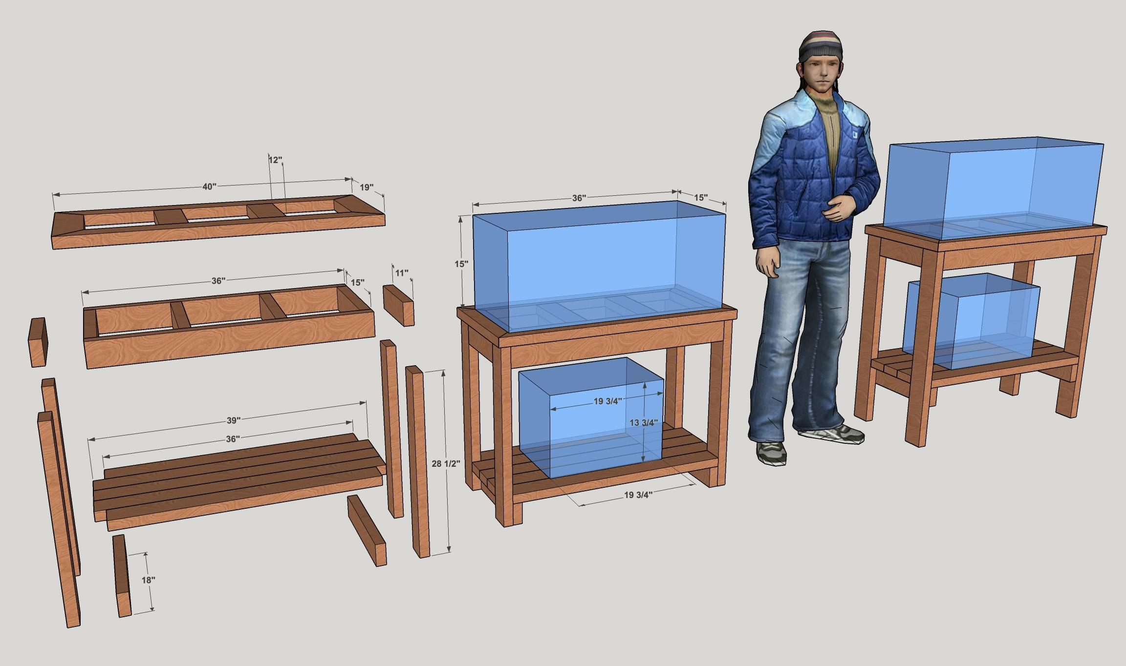 First Draft Of Aquarium Stand With Shelves Designed In Sketchup