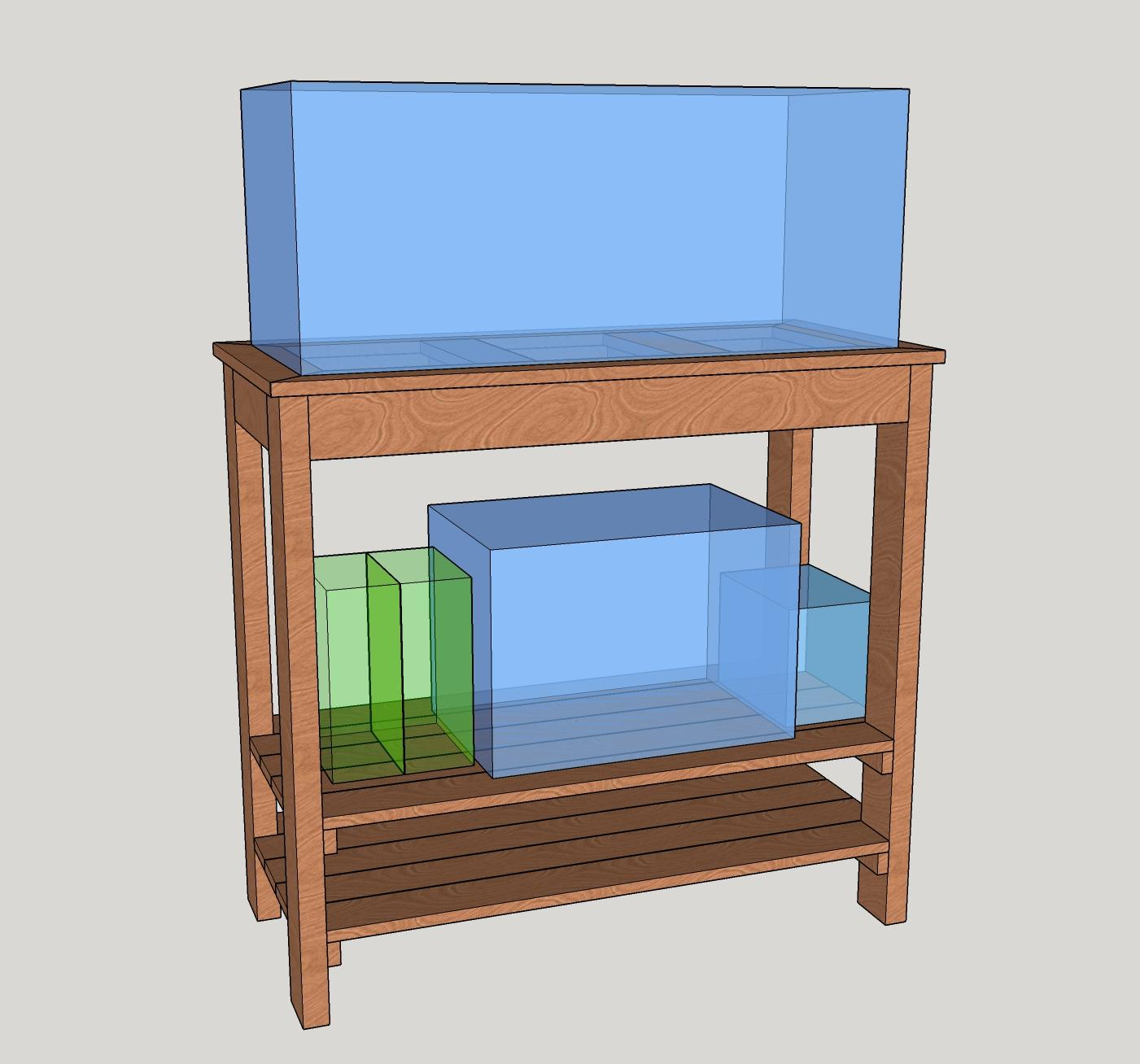 Second Draft Of Aquarium Stand With Shelves Showing The Tanks I Intend To Keep On It