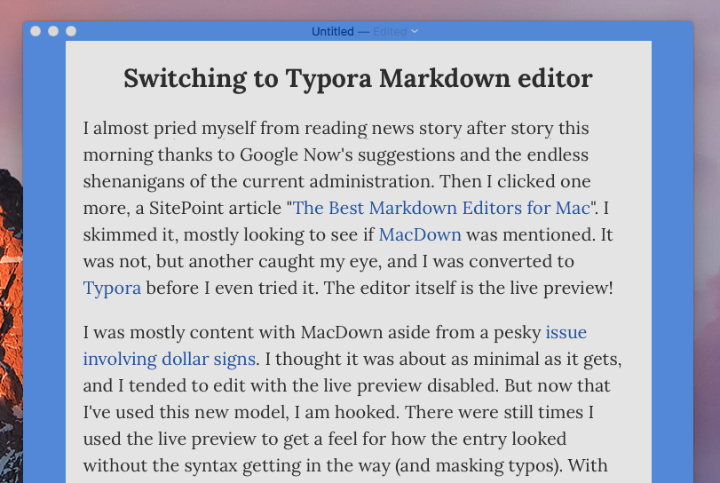 Switching to Typora Markdown editor | Blog | Vote Charlie